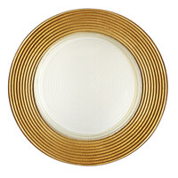 The Jay Companies 12 inch Round Gold Stripe Rim Glass Charger Plate