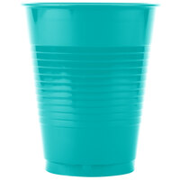 Creative Converting 28111081 16 oz. Tropical Teal Plastic Cup - 240 / Case