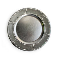 The Jay Companies 13 inch Round Silver Rivet Rim Polypropylene Charger Plate