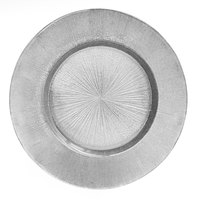 The Jay Companies 13 inch Round Glass Silver Burst Charger Plate