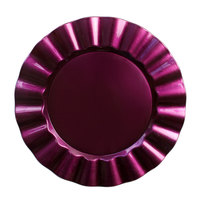 The Jay Companies 13 inch Round Purple Ruffled Rim Polypropylene Charger Plate