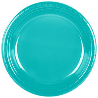Creative Converting 28111031 10 1/4 inch Tropical Teal Plastic Banquet Plate - 240 / Case