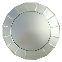 The Jay Companies 13 inch Round Beveled Block Glass Mirror Charger Plate