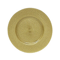 The Jay Companies 13 inch Round Pearl Spiral Gold Glass Charger Plate