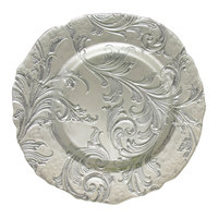 The Jay Companies 13 inch Round Vanessa Silver Glass Charger Plate