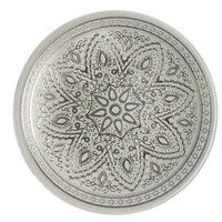 The Jay Companies 13 inch Round Divine Silver Glass Charger Plate