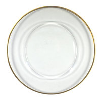 The Jay Companies 13 inch Round Gold Rim Glass Charger Plate