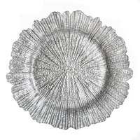 The Jay Companies 13 inch Round Reef Silver Glass Charger Plate