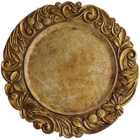 The Jay Companies 14 inch Round Gold Aristocrat Polypropylene Charger Plate