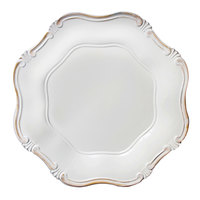 The Jay Companies 13 inch Round White Baroque Polypropylene Charger Plate