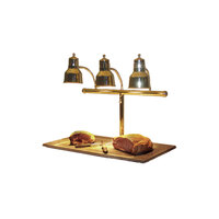 Hanson Brass 3LM-BB Triple Bulb 20 inch x 36 inch Brass Carving Station with Synthetic Granite Base and Sneeze Guard