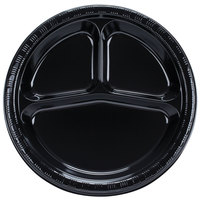 Creative Converting 019260 10 inch 3 Compartment Black Velvet Plastic Banquet Plate - 200 / Case