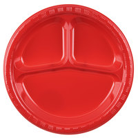 Creative Converting 019548 10 inch 3 Compartment Classic Red Plastic Banquet Plate - 200 / Case