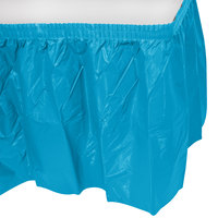 Creative Converting 743131 14' x 29 inch Turquoise Disposable Plastic Table Skirt