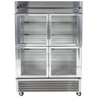 True T-49G-4 54 inch Two Section Glass Half Door Reach In Refrigerator
