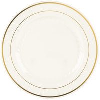 Fineline Silver Splendor 509-BO 9 inch Bone White Plastic Plate with Gold Bands - 120 / Case