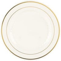 Fineline Silver Splendor 509-BO 9 inch Bone / Ivory Plastic Plate with Gold Bands - 120 / Case
