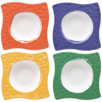 GET B-1612-MIX Four Mardi Gras Colored Las Brisas 6 oz. Square Melamine Bowls - 7 inch 12 / Pack