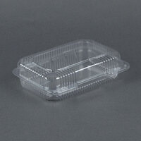Dart Solo C32UT1 StayLock 9 3/8 inch x 6 3/4 inch x 2 5/8 inch Clear Hinged Plastic Medium Medium Dome Oblong Container - 250 / Case