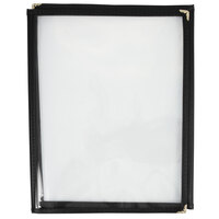 8 1/2 inch x 11 inch Three Pocket Clear Fold Over Menu Cover - Black