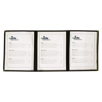 8 1/2 inch x 11 inch Black Three Pocket Clear Fold Over Menu Cover