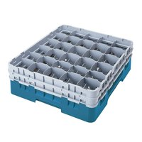 Cambro 30S1114414 Teal Camrack 30 Compartment 11 3/4 inch Glass Rack