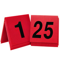 Cal-Mil 226 Red/Black Double-Sided Number Tents 1-25 - 3 inch x 3 inch