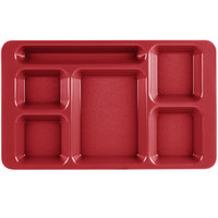 Cambro 1596CW404 Camwear (2 x 2) 9 inch x 15 inch Red Six Compartment Serving Tray - 24/Case