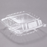 Dart C90PST3 8 5/16 inch x 8 5/16 inch x 3 inch ClearSeal 3 Compartment Hinged Lid Plastic Container - 125/Pack