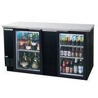 Beverage Air BB68G-1-B-LED 69 inch Back Bar Refrigerator with 2 Glass Doors - 115V, LED Lighting