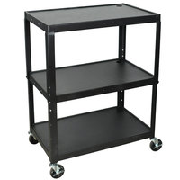 Luxor / H. Wilson AVJ42XL Adjustable Height Black 3 Shelf A/V Cart