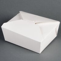 6 inch x 5 inch x 3 inch ChampPak Retro White Paper #8 Take-Out Container - 50 / Pack