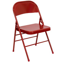 Red Metal Folding Chair