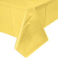 Creative Converting 1252 108 inch x 54 inch Mimosa Yellow Disposable Plastic Table Cover - 12/Case