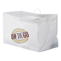 22 inch x 14 inch x 15 inch White Rigid Plastic Handled Shopper Bag with Express On the Go Printing - 50/Case