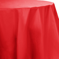 Creative Converting 703548 82 inch Classic Red OctyRound Disposable Plastic Table Cover - 12 / Case