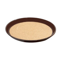 GET RCT-11-BR Round 11 1/4 inch Cork Non-Skid Serving Tray - 24/Case