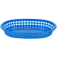 Tablecraft 1076BL Blue Oval Chicago Platter Polypropylene Basket - 12/Pack
