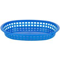 Tablecraft 1076BL Blue Oval Chicago Platter Polypropylene Basket - 12/Pack