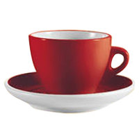 CAC E-75-R Venice 7.5 oz. Red Cup with 5 7/8 inch Saucer - 36 Sets / Case