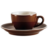 CAC CFB-35 Venice 3.5 oz. Brown Espresso Cup with 5 inch Saucer - 36 Sets / Case