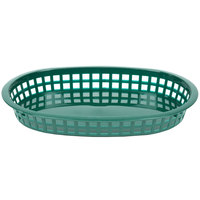 Tablecraft 1076FG Forest Green Oval Chicago Platter Polypropylene Basket - 12 / Pack