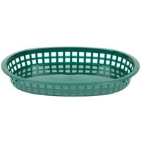 Tablecraft 1076FG Forest Green Oval Chicago Platter Polypropylene Basket - 12/Pack