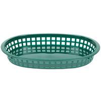 Tablecraft 1076FG Forest Green Oval Chicago Platter Polypropylene Basket - 12/Pack