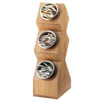 Cal Mil 1016-3-60 Bamboo Three Cylinder Vertical Condiment Organizer - 6 1/4 inch x 9 3/8 inch x 22 5/8 inch