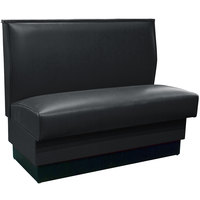 American Tables & Seating QAS-42 Black Plain Single Back Booth 42 inch High - Fully Upholstered Quick Ship