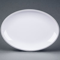 Elite Global Solutions D2209L Viva 9 inch x 6 1/4 inch White Oval Plate with Black Trim