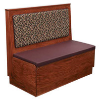 American Tables & Seating AS36-W-PS-D Plain Back Platform Seat Single Deuce Wood Booth - 36 inch High