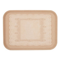 Cambro 1014246 10 5/8 inch x 13 3/4 inch Rectangular Doily Light Peach Fiberglass Camtray - 12/Case
