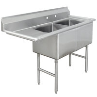 Advance Tabco FC-2-1620-18 Two Compartment Stainless Steel Commercial Sink with One Drainboard - 52 1/2 inch